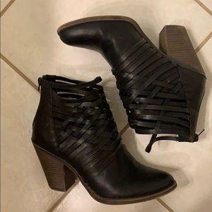Fergalicious black faux leather ankle booties
